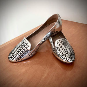 J.Crew Cleo Perforated Mirror Metallic Loafers
